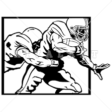 Sports Clipart Image of Black White Sacked Tackled Tackling