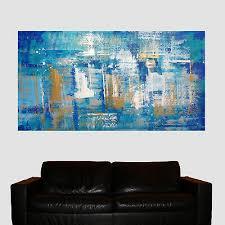 original acryl kunst gemälde blau gold malerei modern