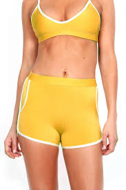 mustard yellow track short poprageous