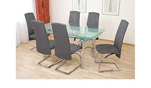 glastisch und stühle set 7 tlg essgruppe de küche
