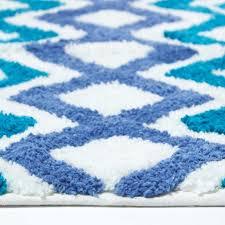 chevron rutschfeste badematte 100 baumwolle blau türkis weiß