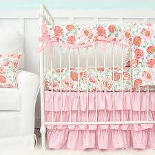 Coral And Mint Crib Bedding by Felicity U0027s Pink Vintage Floral Bumperless Crib Bedding Caden Lane