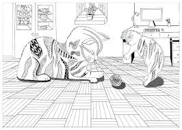 Coloring Page Animals Cats Zentangle