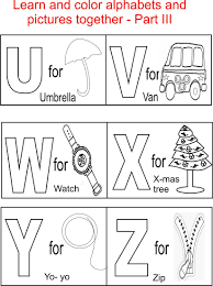 Alphabet Part III Coloring Printable Page For Kids Alphabets Pages