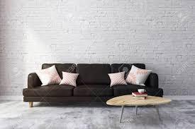 loft ziegel wohnzimmer interieur mit möbeln und kopie raum auf wand design und stil konzept 3d rendering
