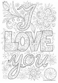 I Love You Doodle Colouring Page