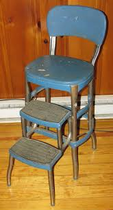 Cosco Counter Chair Step Stool by Cosco Industrial Metal Step Stool Chair Blue Mid Century Modern Pickup