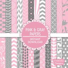 Pink And Gray Digital Scrapbooking Printable Paper Pack Instant