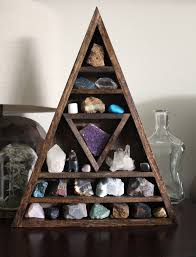 Large Crystal And Mineral Collection In Handmade Elongated Wood Triangle Shelf Along With HandyMaiden Bear Sculpture Rock DisplaysCrystal