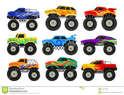 Set Of Monster Trucks. Heavy Cars With Large Tires And Black Tinted ...