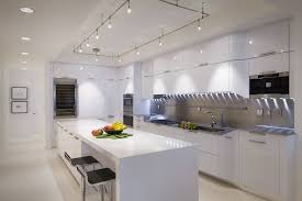 lighting high tech white kitchen designs concept with