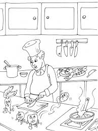coloriage cuisine coloriage cuisinier dans une cuisine à imprimer