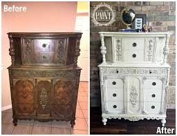 Before And After Ornate Vintage Jacobean Style Chest Of Drawers