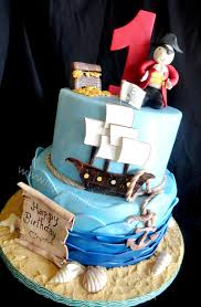 This fun Pirate theme Birthday cake was made for a little boy turning 1 He enjoys a Pirate show in TV and his mom thought this was the perfect theme for
