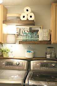 Pretty Laundry Room Storage With DIY Rustic Wood Shelves