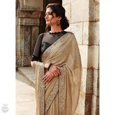 Tan Saree Saree Blouses Pinterest Saree Sari And Saree Blouse