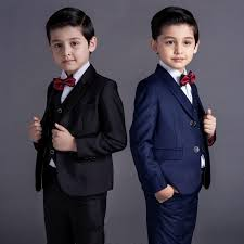 New Fashion Baby Kids Boys Children Blazers Suits For Weddings Formal Blue Black Wedding Suit Flower Boy Dress Wear Clothing