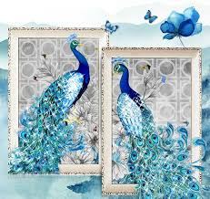Blue 5D Diamond Embroidery Paintings Rhinestone Pasted Diy Cross Stitch Animal Peacock Room Decor Ferr Shipping In Painting