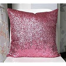 Amazon Stylish fy Solid Color Sequins Cushion Cover Throw