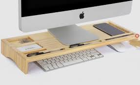Imac Monitor Desk Mount by Wooden Unibody Monitor Imac Stand Desk Organizer Feelgift