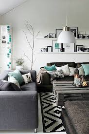 Living Roomteal Sofa Rustic Wood Grey Black And