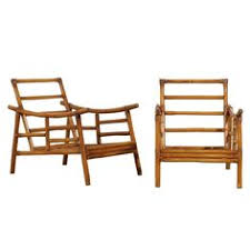 Ficks Reed Lounge Chair by Ficks Reed Furniture Pair Of Ficks Reed Bamboo Lounge Chairs At