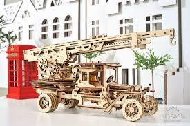 100 Fire Truck Model Kits UGears With Ladder Model Kit Mechanical 3D Puzzle