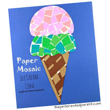 Paper Mosaic Ice Cream Cone Craft With Free Printable Template Construction Crafts For Kids