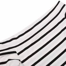 elegant women off shoulder black white stripes color long dress