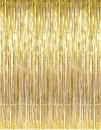 amazon com set of 2 shiny gold metallic foil fringe door window