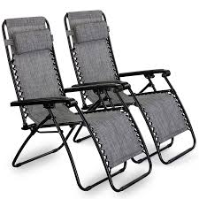 VonHaus Set Of 2 Zero Gravity Chairs - Folding & Reclining Sun ...