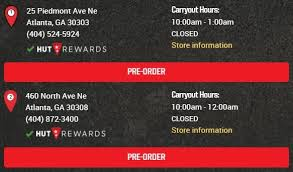 Pizza Hut Atlanta Restaurants Information