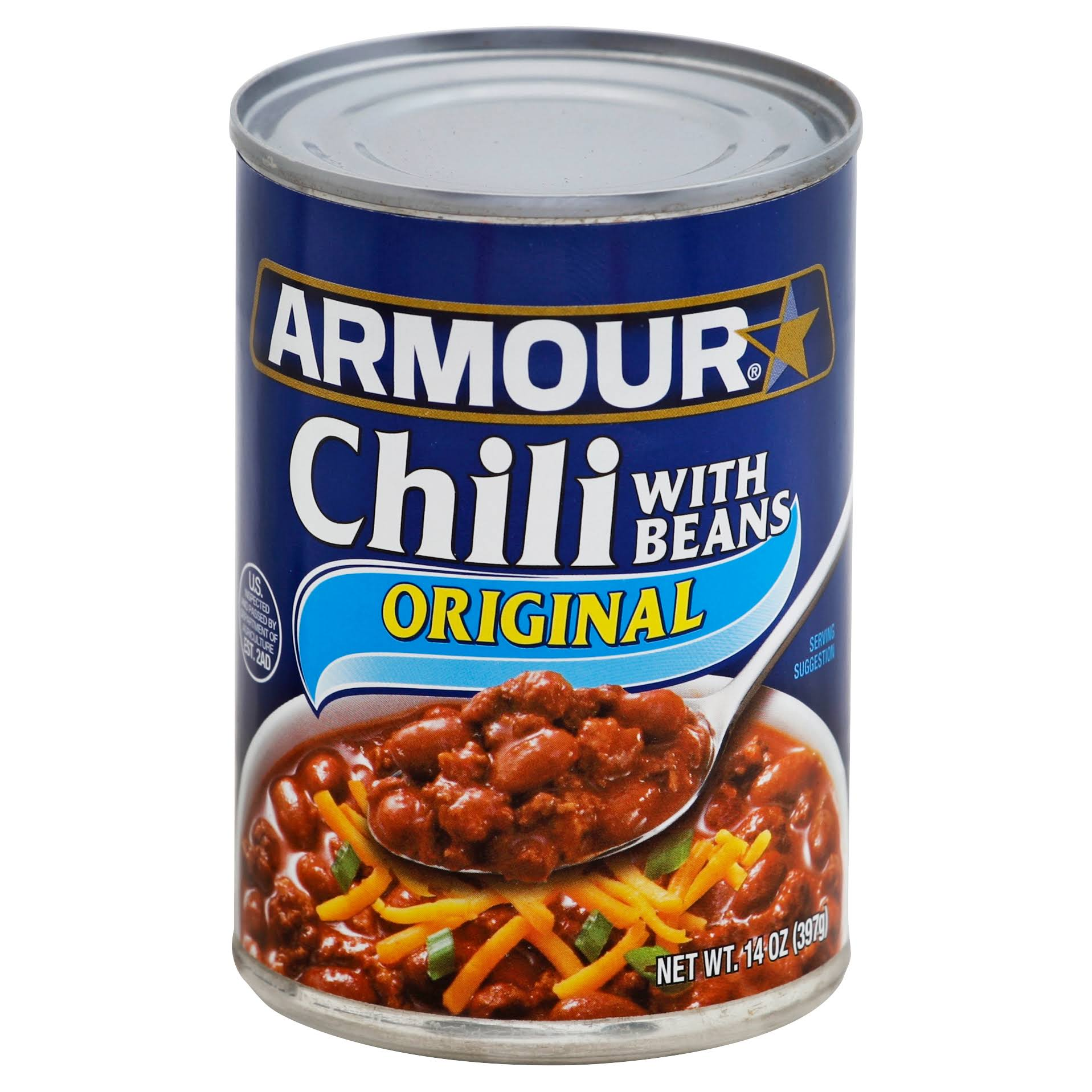 Armour Original Chili - With Beans, 14oz, 12 per Case