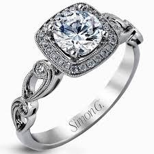 Simon G 18K White Gold Cushion Halo Vintage Style Floral Engagement Ring