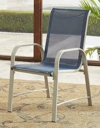 COSCO Outdoor Living Paloma Steel Patio Dining Chairs, Navy Blue Sling, Sand