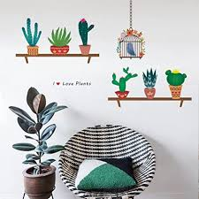 decalmile wandtattoo grüne kaktus pflanzen wandsticker entfernbarer wandaufkleber wanddekoration für wohnzimmer schlafzimmer fenster