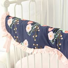 Coral And Mint Baby Bedding by Berkeley U0027s Navy U0026 Blush Floral Bumperless Crib Bedding Caden Lane