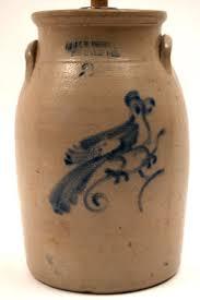 American Antique Stoneware Blue Decorated Crocks Jugs Cake