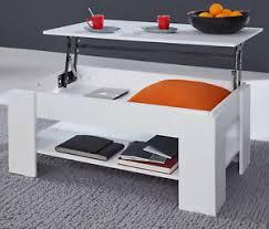details zu couchtisch wohnzimmer tisch klappbar lift esstisch 48 70 cm hoch weiß universal