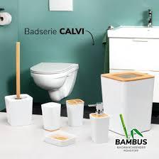 bremermann zahnbürstenhalter calvi aus bambus und kunststoff utensilienständer mundspülbecher weiß