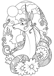 Coloring Page Fairy Unicorn Graceful In The Moonlight Surrounded By Flowers