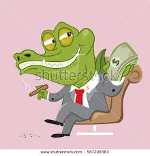 Crook trader crocodile taking money in the hand vector illustration cartoon