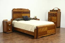 Waterfall Art Deco Vintage Bedroom Set Queen Size Bed Tall Chest
