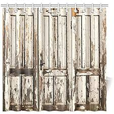 InterestPrint Old Vintage Wooden Door With White Paint Garage American Style Decorations For Bathroom Print