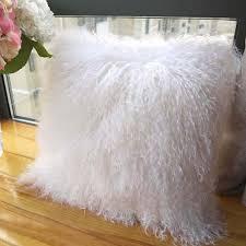 Amazon ROSE FEATHER  Real Mongolian Lamb Wool Fur Cushion