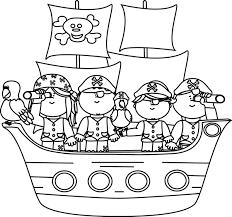 Black and White Pirates on a Pirate Ship Clip Art Black and