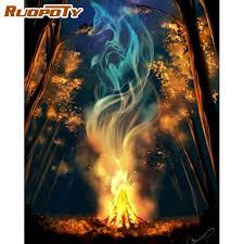 ruopoty 60x75cm rahmen malerei durch zahlen für erwachsene handgemachte feuer landschaft bild hause wohnzimmer wand dekoration fotos