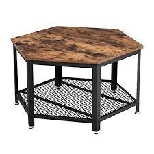 sechseckiger vintage tisch in holz und metall