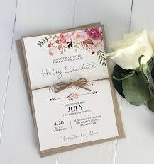 Rustic Floral Boho Wedding Invitation Modern