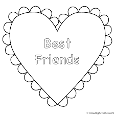 Heart Best Friends Coloring Page Valentines Day